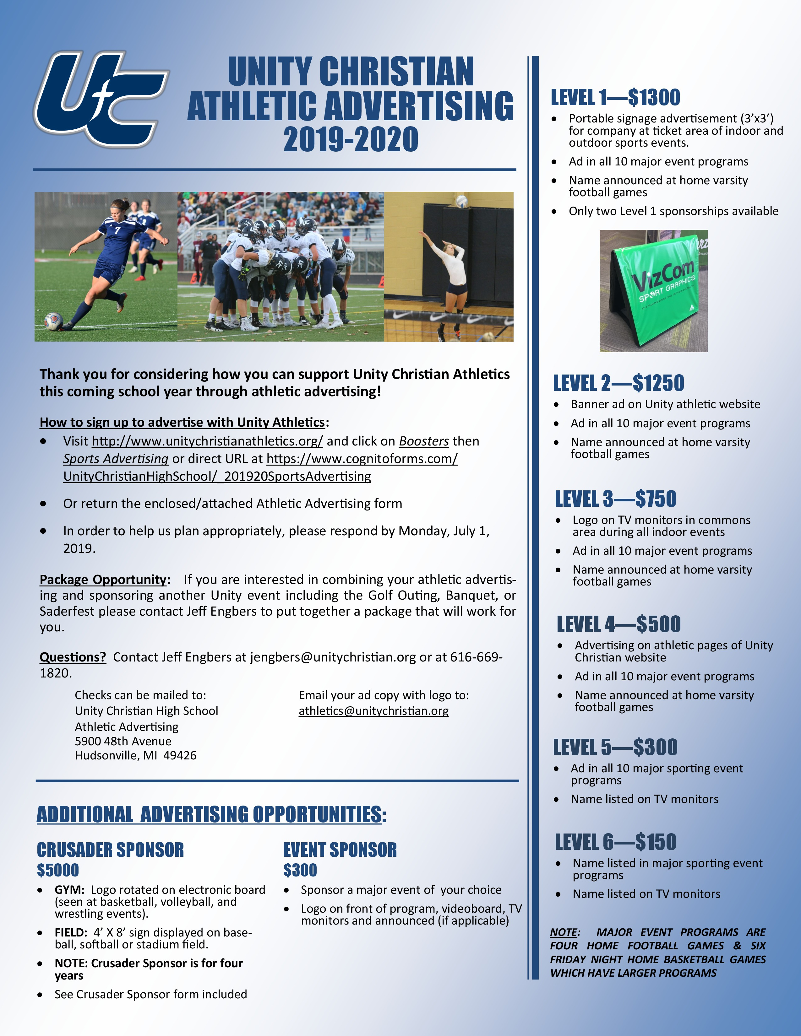Unity Christian High School Boosters Sports Advertising