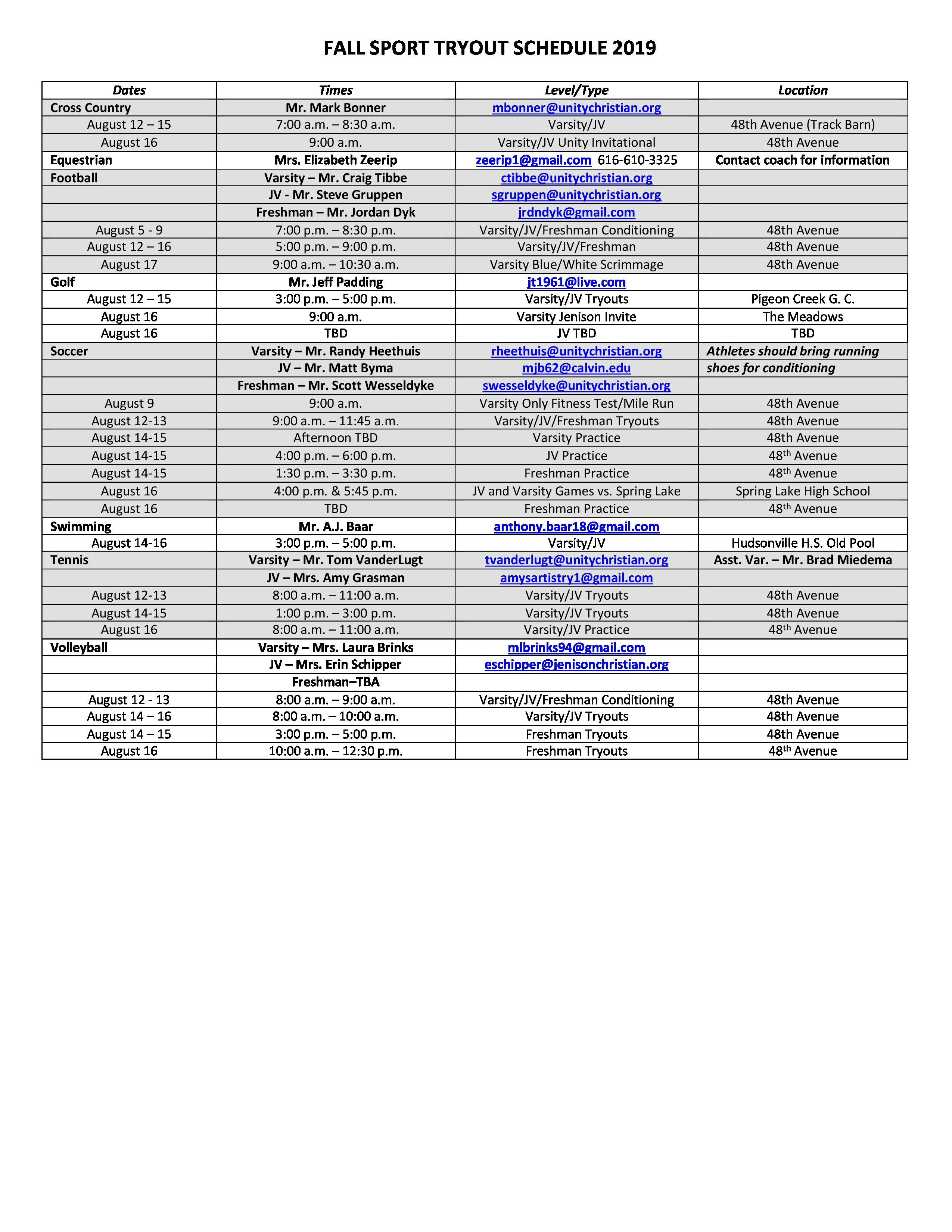 graphic regarding Printable Tryout Numbers titled Unity Christian Higher Higher education Bulletins Major Situations